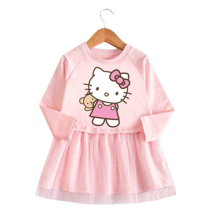 Toddler Girl Fashion Hello Kitty Princess A-line Long-Sleeved Mesh Dress