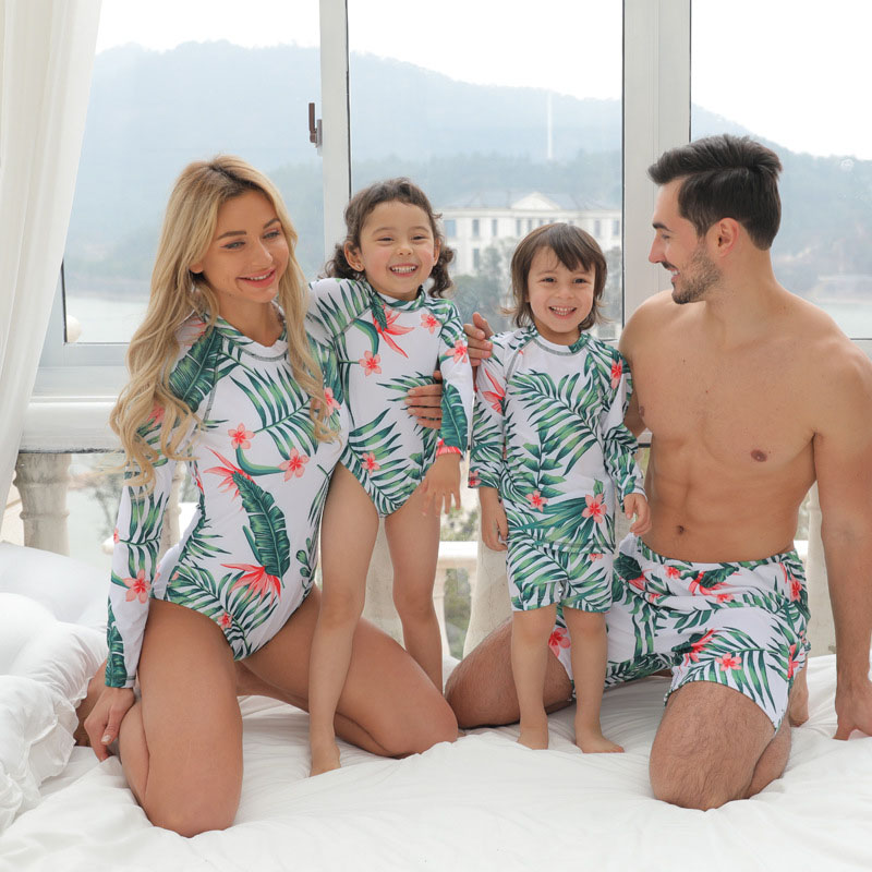 Matching Family Suit Flowers And Leaves Printing Family Long Sleeve Parent-Child Beach Swimsuit
