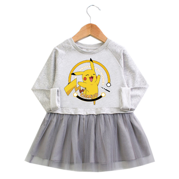 Toddler Girl Cute Pikachu Princess A-line Long-Sleeved Mesh Dress