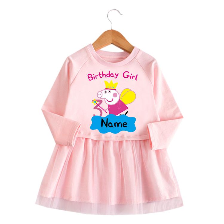 Toddler Girls Angel Peppa Pig A-Line Long-Sleeved Mesh Dress