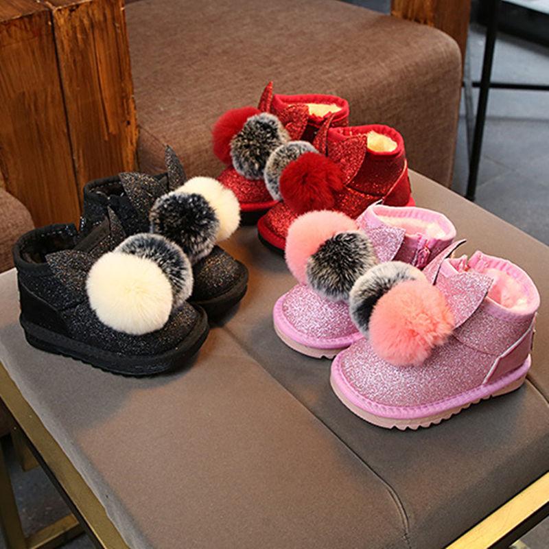 Toddler Kids Girl Rabbit Ear Pompom Sequins Warm Winter Snow Boot Shoes