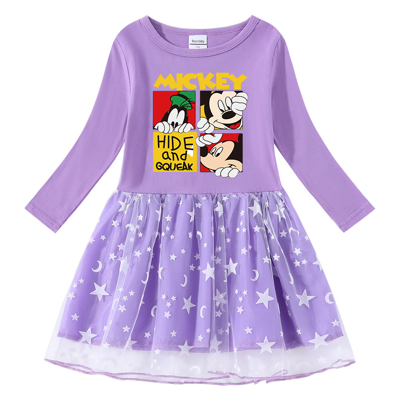 Toddler Girl Mickey Mouse Net Gauze Long Sleeve Tutu Dress