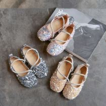 Toddler Girl Sequins Jewelry Flat Girl Dress Shoes