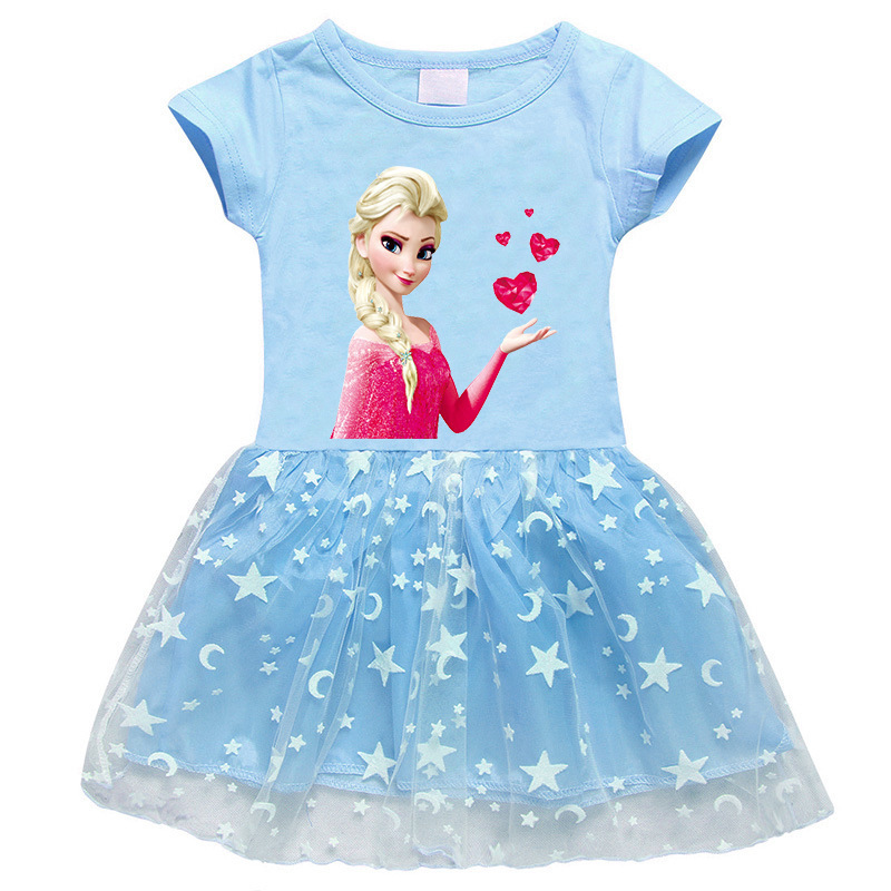 Toddler Girl Frozen Red Hearts Mesh Lace Short Sleeve Tutu Dress