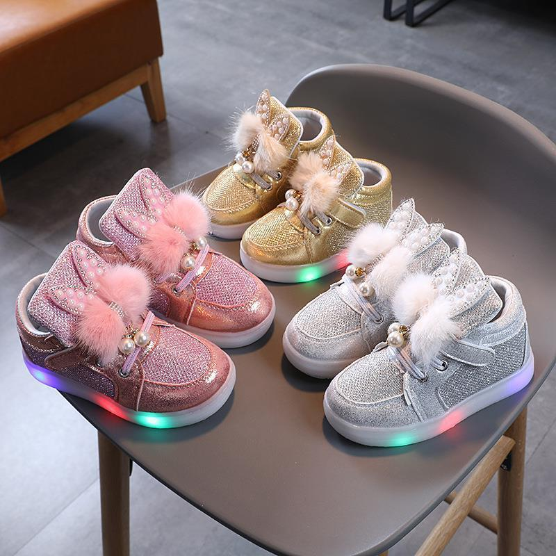 Toddler Kids Girls LED Light Bright Leather Pearls Pompom Rabbit Ear Sneakers Shoes
