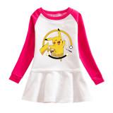Toddler Girl Pikachu Print Pleated Long Sleeve Dress