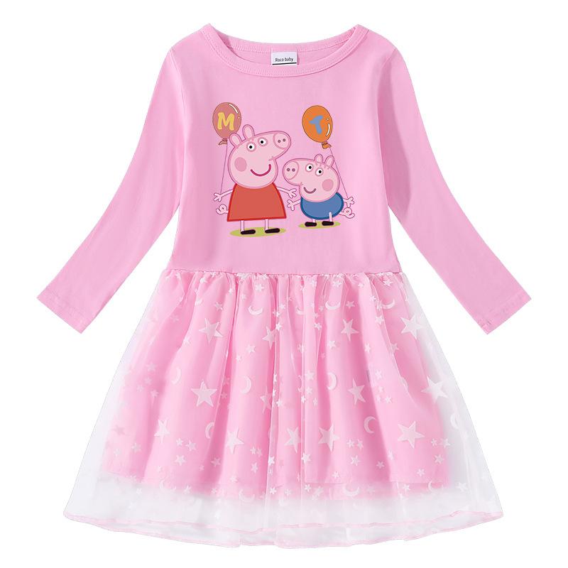 Toddler Girl Peppa Pig Balloons Long Sleeve Tutu Dress