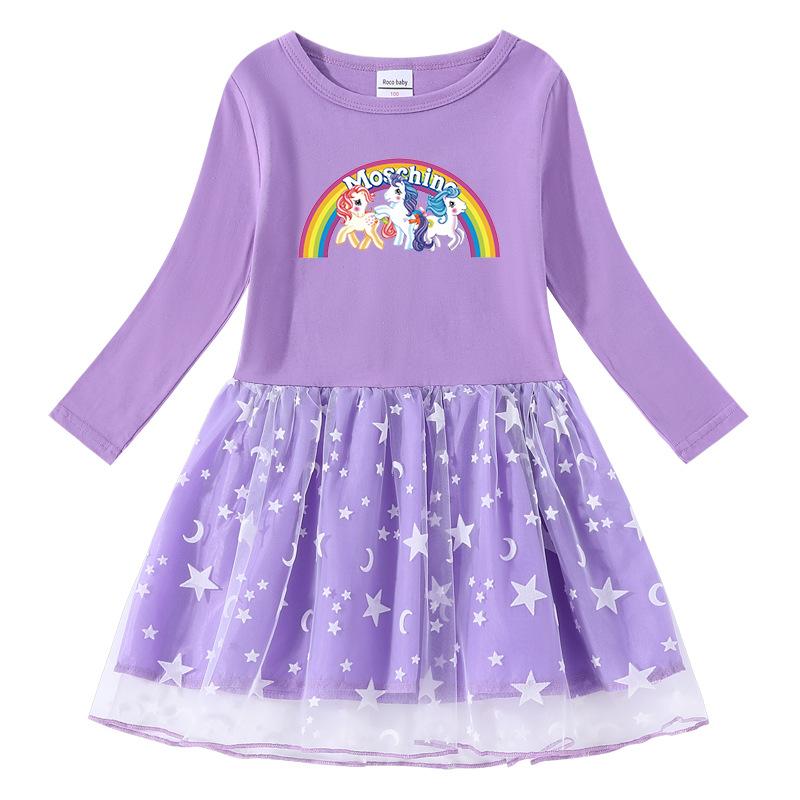 Toddler Girl Rainbow Horse Printed Mesh Long Sleeve Tutu Dress