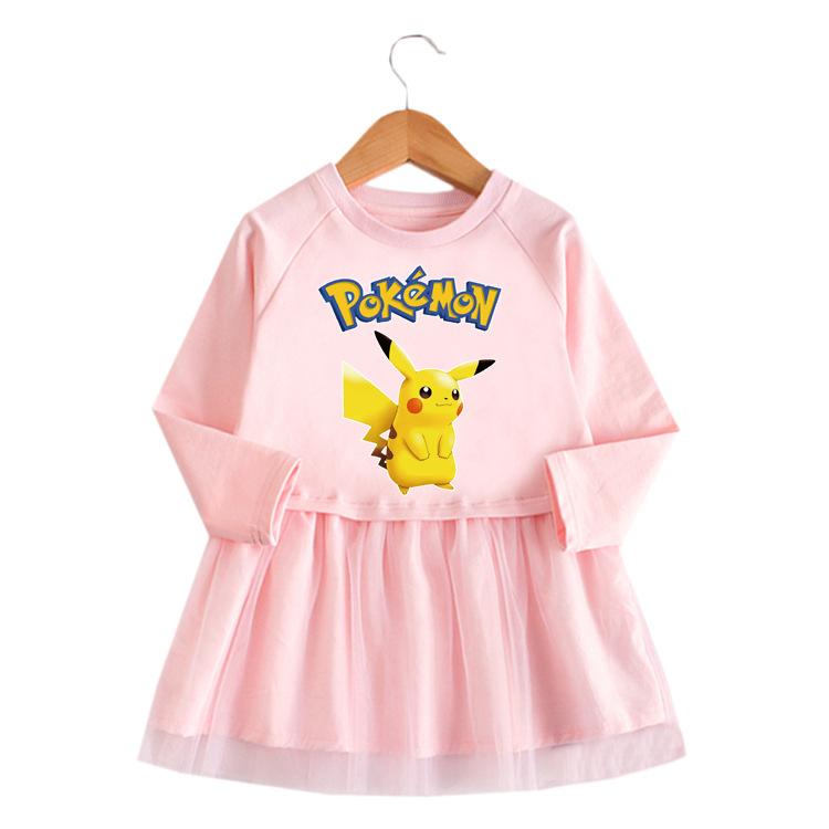 Toddler Girl Pikachu Princess A-line Long-Sleeved Mesh Dress
