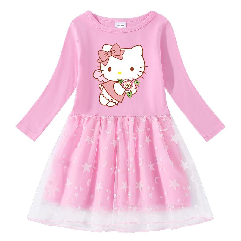 Toddler Girl Hello Kitty Angle Mesh Long Sleeve Tutu Dress