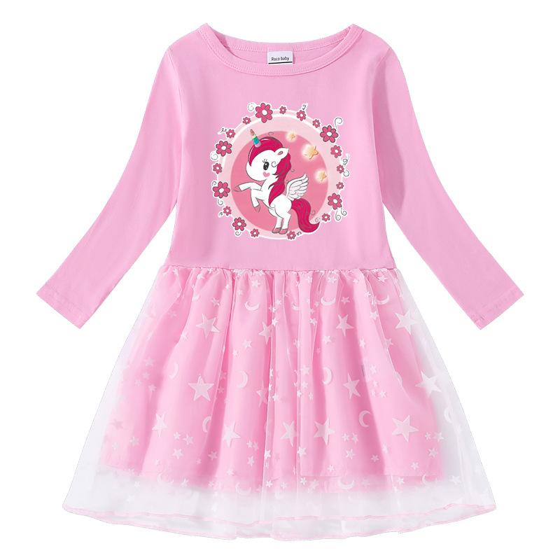 Toddler Girl Garland Unicorn Long Sleeve Tutu Dress