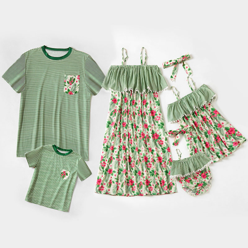 Matching Family Suit Stripe Printing Splicing Mom Flower Dress And Dad T-Shirt