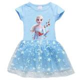 Toddler Girl Frozen Princess Mesh Lace Short Sleeve Tutu Dress