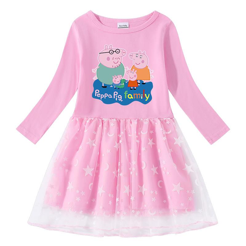 Toddler Girl Peppa Pig's Family Long Sleeve Tutu Dress
