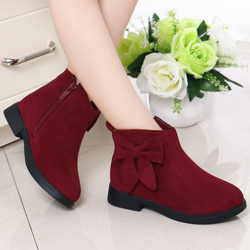 Toddler Kids Girl Suede Bowknot Ankle Boots