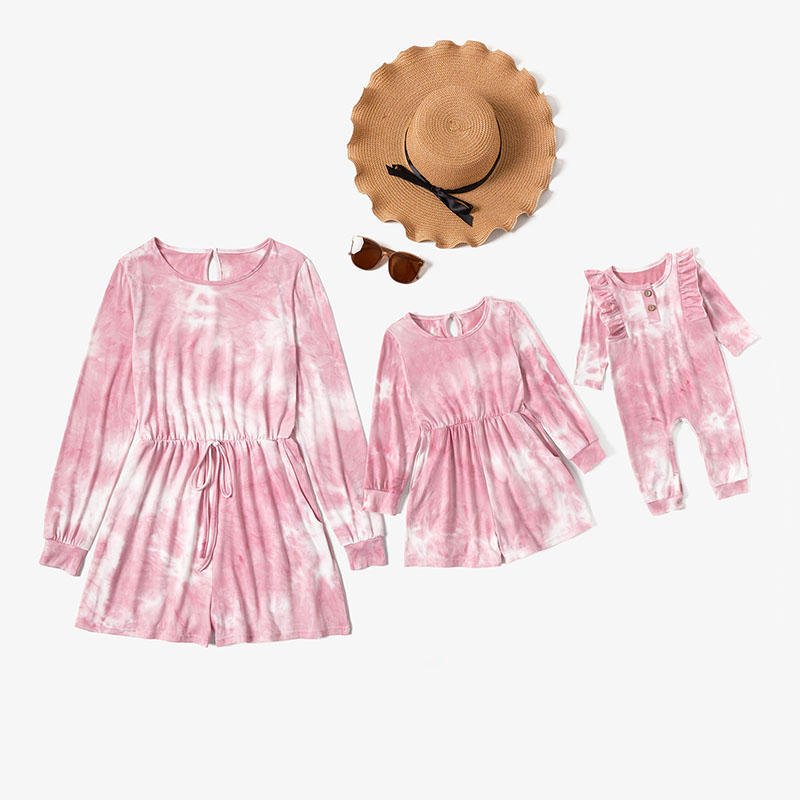 Mommy and Me Mother Daughter Round Neck Long Sleeve Pink Tie-Dye Romper Jumpsuit