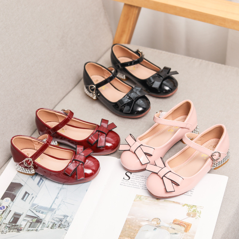 Toddler Girls Leather Bowknot Jewelry Pump Heels Dress Shoes