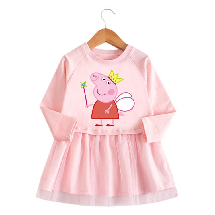 Toddler Girl Piggy Paige A-Line Long-Sleeved Mesh Dress