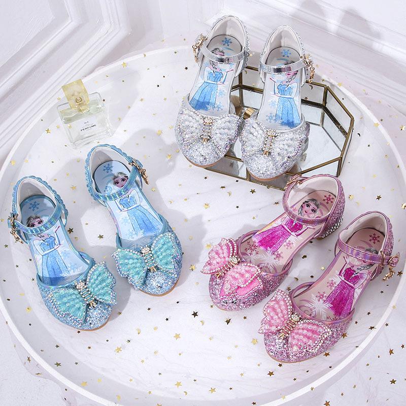 Toddler Girls Jewelry Beads Butterfly Sequins Frozen Princess Heels Dress Shoes