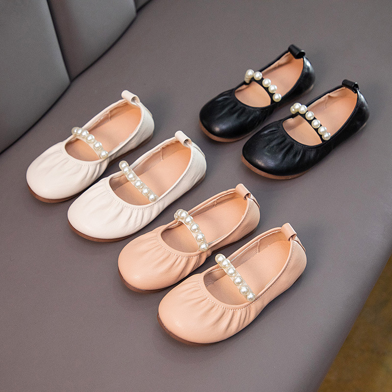 Toddler Girls Soft Sole PU Leather White Pearls Flat Dress Shoes