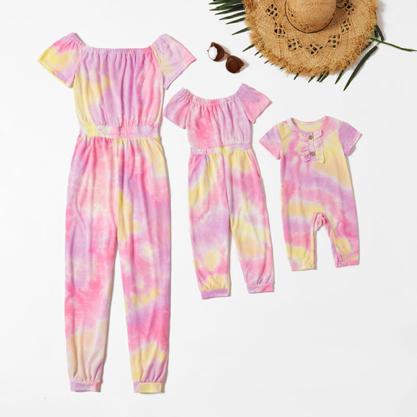 Mommy and Me Mother Daughter Tie-Dye Off Shoulder Short Sleeved Jumpsuits