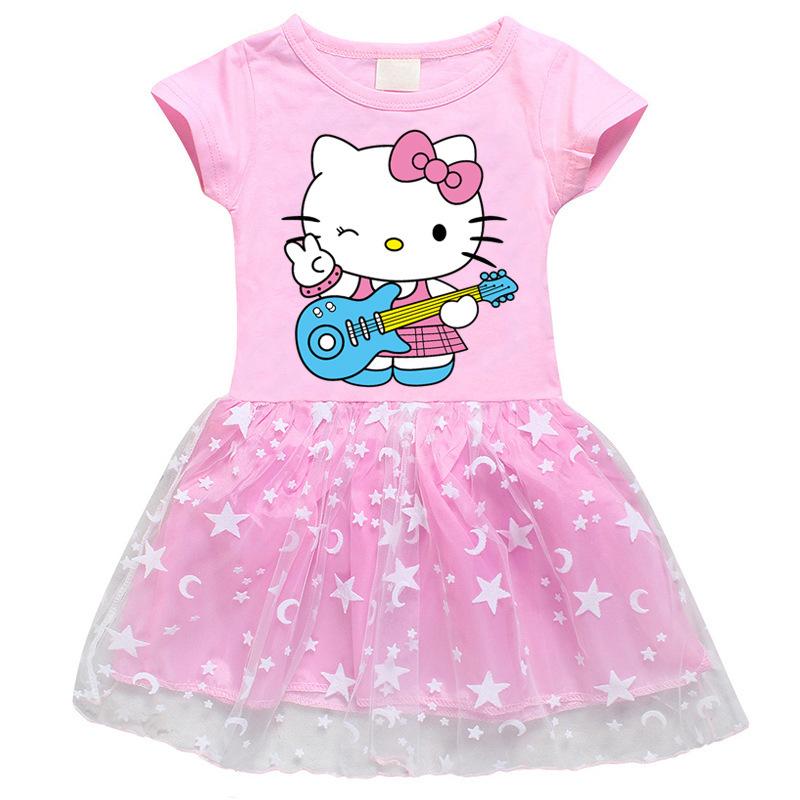 Toddler Girl Guitar Hello Kitty Music Mesh Lace Short Sleeve Tutu Dress