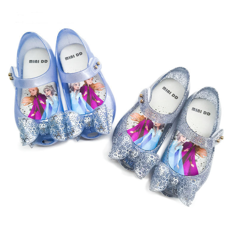 Toddler Girls Frozen Bowknot Waterproof Non-slip Jelly Shoes