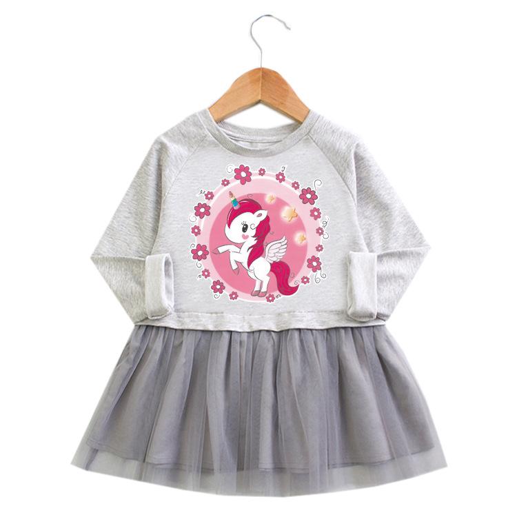 Toddler Girl Unicorn Princess A-line Long-Sleeved Mesh Dress
