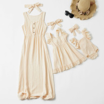 Mommy and Me Mother Daughter New Pure Color Flounces Parent-Child Dress