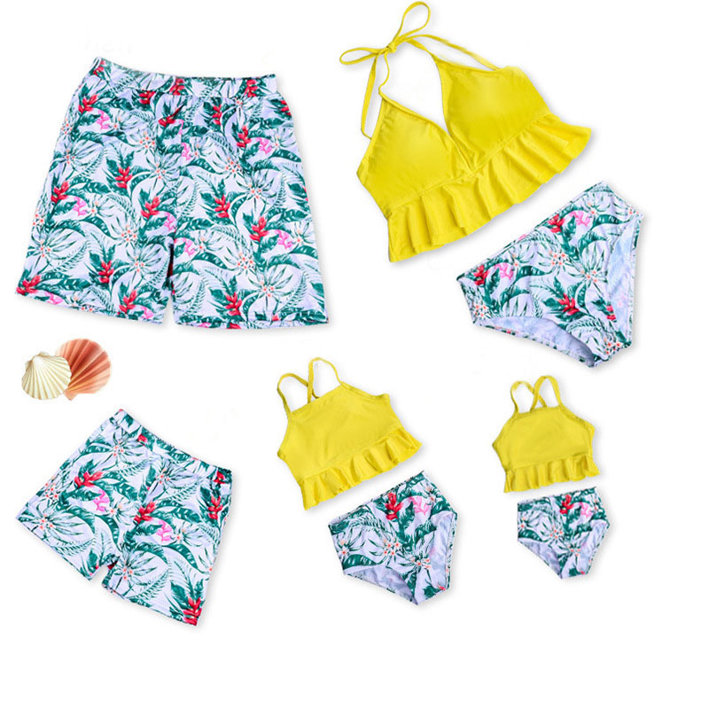 Matching Family Suit Flowers And Leaves Printing Family Parent-Child Beach Swimsuit