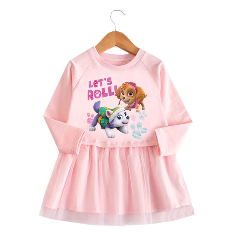 Toddler Girl Two Puppies Princess A-line Long-Sleeved Mesh Dress