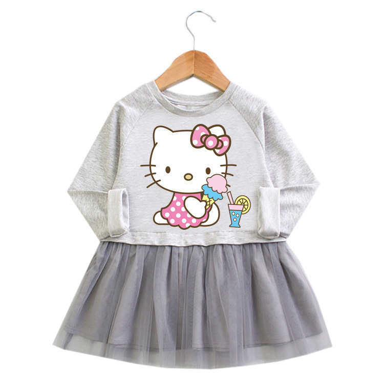 Toddler Girl Hello Kitty Princess A-line Long-Sleeved Mesh Dress