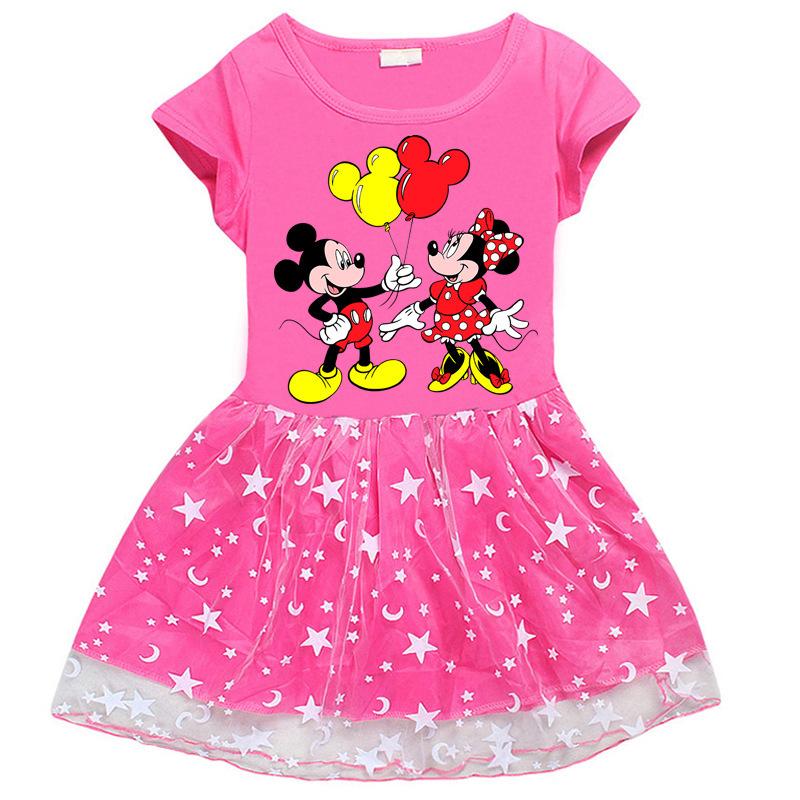 Toddler Girl Mickey Minnie Mesh Lace Short Sleeve Tutu Dress