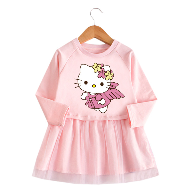 Toddler Girl Flying Hello Kitty Princess A-line Long-Sleeved Mesh Dress