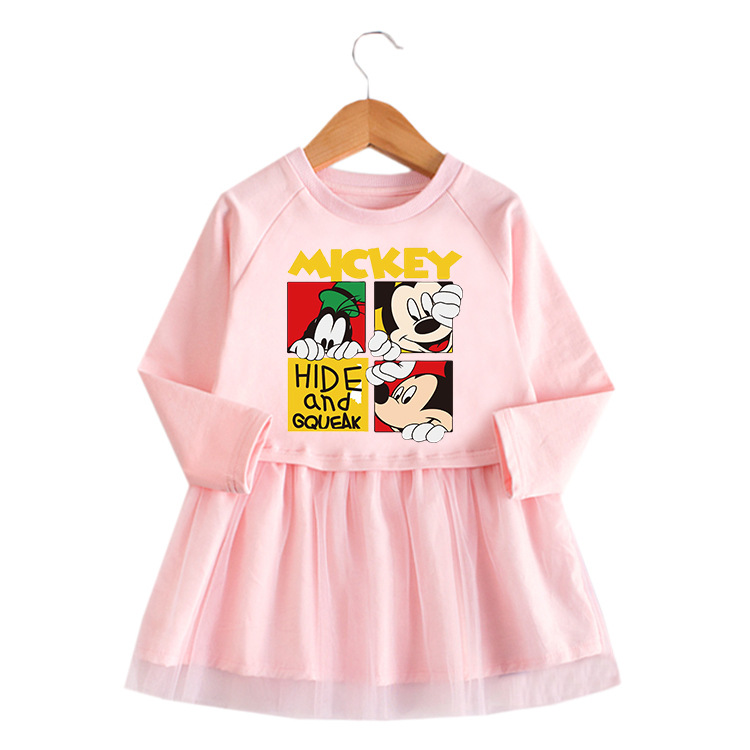 Toddler Mickey Mouse Princess A-line Long-Sleeved Mesh Dress