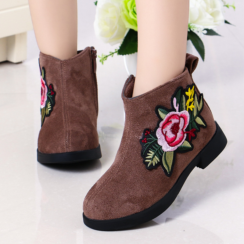 Toddler Kids Girl Suede Embroidery Flower Ankle Boots