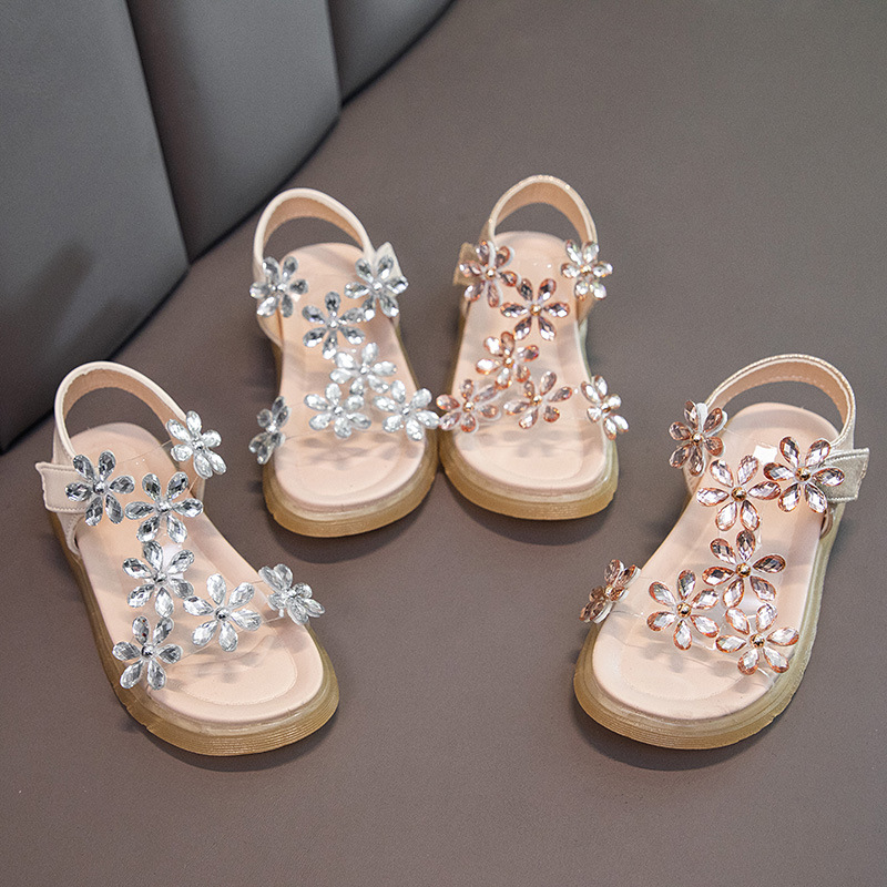 Toddler Girls Flower Rhinestone Crystal Flat Sandals Shoes