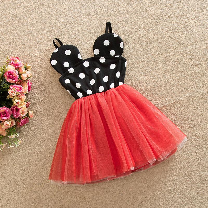 Toddler Kid Girls Minnie White Dots Slip Tutu Dress