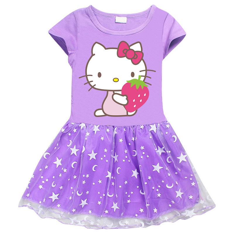 Toddler Girl Strawberry Hello Kitty Mesh Lace Short Sleeve Tutu Dress