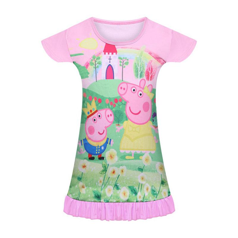 Toddler Kid Girls Peppa Pig Short Sleeve Summer Sleep Dress