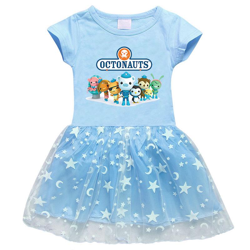 Toddler Girl Cartoon The Octonauts Mesh Lace Short Sleeve Tutu Dress