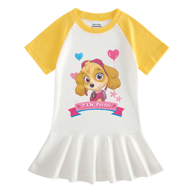 Toddler Girl Doggy Short Sleeve Pleated Dress
