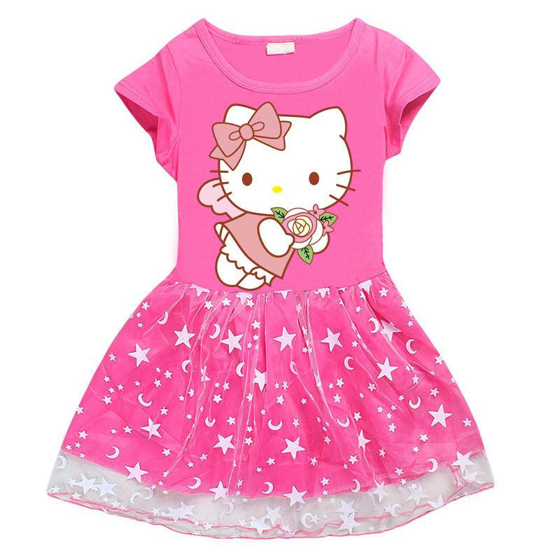 Toddler Girl Flowers Hello Kitty Mesh Lace Short Sleeve Tutu Dress