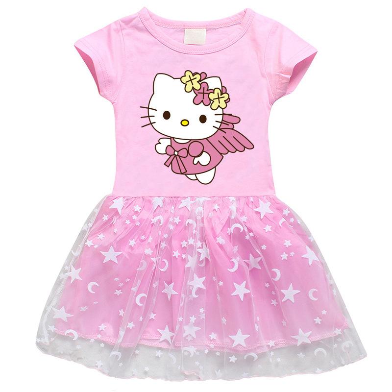 Toddler Girl Wings Hello Kitty Short Sleeve Princess Dress