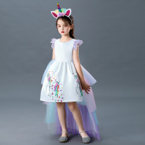Toddler Kid Girls Halloween Cosplay Unicorn Princess 4 Layers Backless Tutu Dress