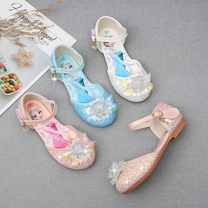 Toddler Girls Flower Crystal Frozen Aisha Princess Sequins Glitter Dress Sandals Shoes