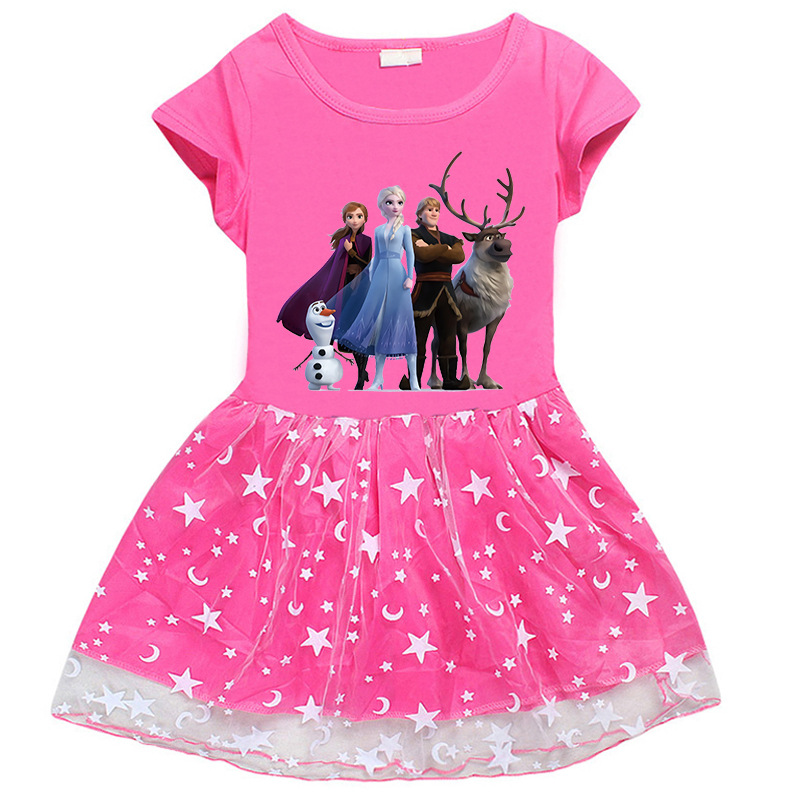 Toddler Girl Frozen Princess Short Sleeve Princess Dress