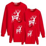 Christmas Matching Family Elk Snowflake PaPa Mama Slogan Family Sweatshirt Tops