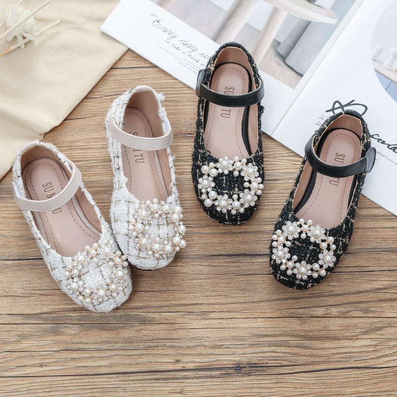 Toddler Girls Jewelry Rhinestone Pearls Soft Soled Girl Dress Shoes