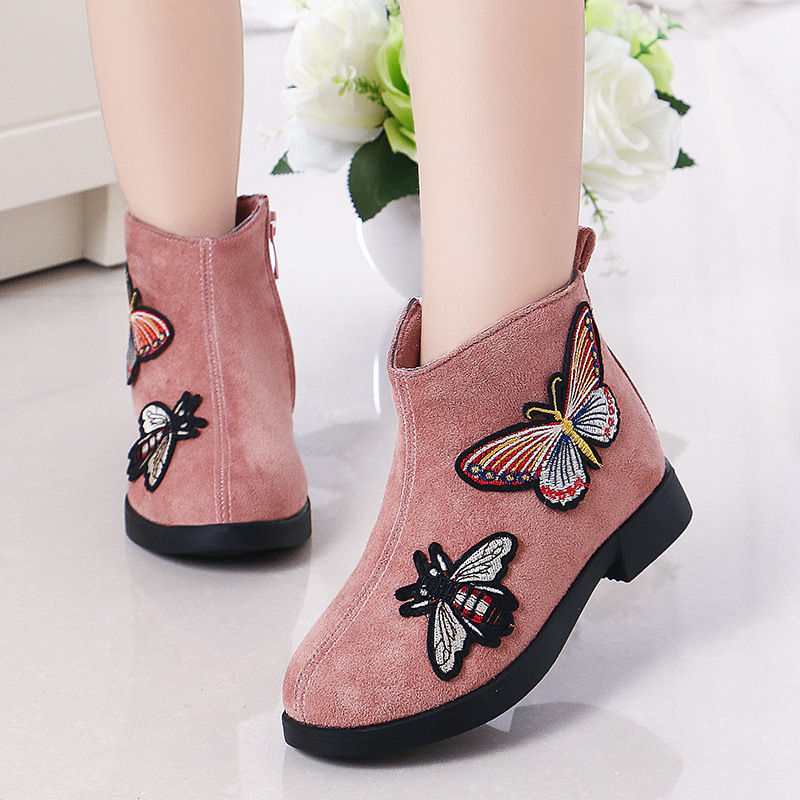 Toddler Kids Girl Suede Embroidery Butterfly Ankle Boots